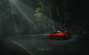 Картинка red, forest, tuning, lancer, evolution, midnight, japan, mitsubishi, power, light, night, turbo, evo, jdm
