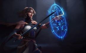 Обои оружие, взгляд, меч, магия, арт, девушка