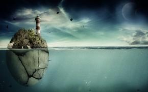Картинка море, рыбы, птицы, скала, планеты, маяк, арт, pranjal22