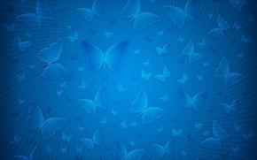 Обои полоски, бабочки, синий