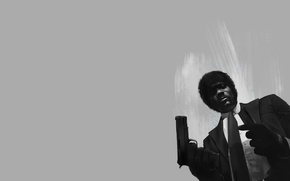 Обои Michele Tanner, арт, Джулс Уиннфилд, Samuel L. Jackson, Криминальное чтиво, art, фильм, Pulp Fiction, Сэмюэл ...