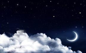 Картинка небо, облака, ночь, звёзды, полумесяц
