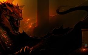 Обои дракон, арт, smaug, lord of the rings, The Hobbit: The Desolation of Smaug, The Hobbit, ...