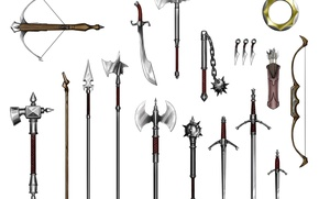 Картинка spears, crossbow, quiver, mace, flail, long sword, scimitar, war hammers, short sword, battle axes, halberds, …