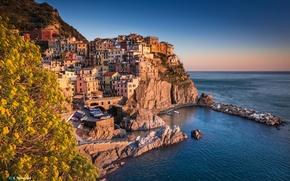 Картинка пейзаж, город, камни, скалы, берег, здания, дома, Италия, Italy, Лигурийское море, Manarola, Liguria, Provincia della …