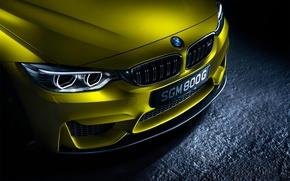 Картинка BMW, German, Car, Front, Yellow, Ligth, Bimper