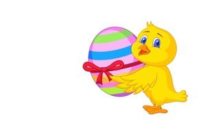 Картинка фон, праздник, подарок, яйцо, арт, Пасха, бантик, цыплёнок, ленточка, Easter, детская