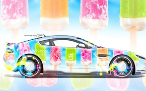 Обои tony kokhan, aston martin, side, ice cream, multicolors, aerography