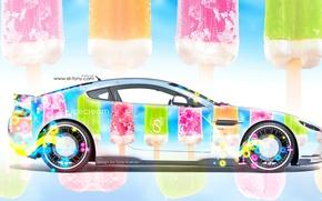Обои tony kokhan, aston martin, side, ice cream, multicolors, aerography