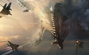 Картинка небо, дракон, арт, битва, самолёты, Adam Burn