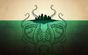 Обои город, остров, монстр, осьминог, ктулху, щупальца