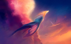 Картинка тучи, драконы, свет, полёт, арт, солнце, нео