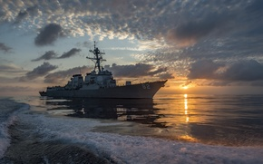 Картинка море, закат, guided-missile destroyer, USS Lassen (DDG 82)