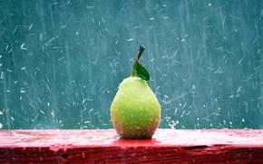 Картинка капли, красный, зеленый, дождь, груша