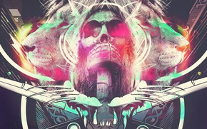 Картинка abstract, light, skull, paint, bright, shape