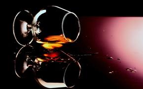 Картинка стекло, фон, бокал, коньяк, напиток, алкоголь, капли