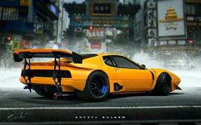 Картинка Ferrari, Car, Art, Yellow, Future, Khyzyl Saleem