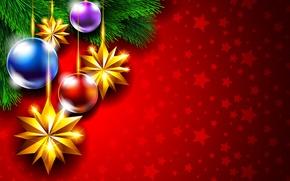 Картинка шарики, украшения, праздник, Новый Год, Рождество, Christmas, New Year