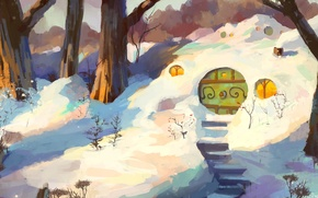 Картинка зима, деревья, лесенка, дверь, арт, сугробы