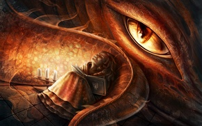 Картинка глаз, дракон, сон, свечи, арт, девочка, хвост, книга, Elena Mikhailava