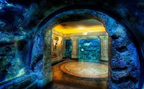 Обои подводное, жилище, мозаика, скала, дом, осьминог, пещера
