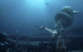Картинка будущее, Статуя, аквалангист