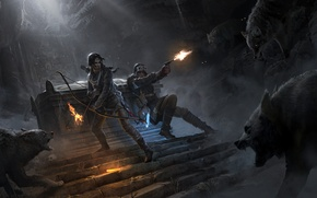 Картинка противостояние, волки, Tomb Raider, пещера, гробница, Lara Croft, Rise of the Tomb Raider, Rise of …