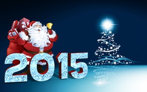Картинка Winter, Green, Tree, Snow, New Year, Santa, Holidays, Happy