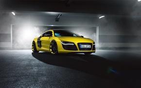 Картинка Audi, Front, Yellow, Smoke, Supercar, MTM