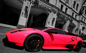 Картинка розовый, улица, Lamborghini, суперкар, supercar, pink, murcielago, street, superveloce, LP670-4, ламборгини, building, мурселаго