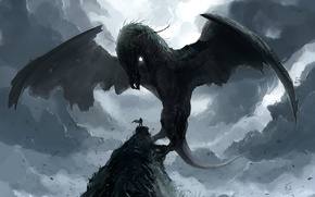 Картинка скала, дракон, человек, крылья, мощь, арт, summoning fantasy
