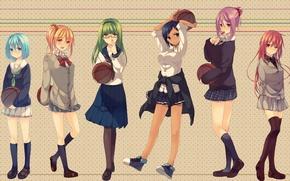 Картинка девушки, мяч, аниме, арт, очки, форма, школьницы, kuroko no basket, tetsuya kuroko, баскетбол куроко, aomine …