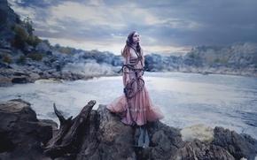 Картинка море, девушка, якорь