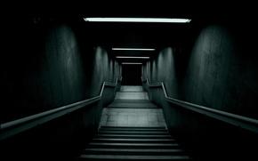 Картинка Лестница, Лампы, Перила, Темнота