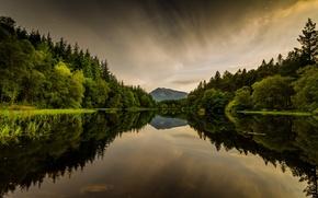 Картинка озеро, Шотландия, Лохан, Гленкое