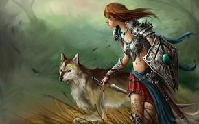 Картинка трава, девушка, ветер, узоры, волк, меч, тату, арт, щит