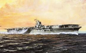 Картинка корабль, арт, авианосец, флот, военный, японский, WW2, aircraft carrier, IJN, Shokaku