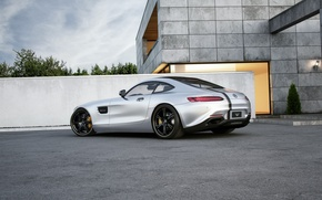 Обои mercedes-benz, amg, gt, tuned, wheelsandmore, 600hp, silver, rear