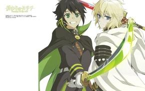 Картинка улыбка, катана, перчатки, плащ, двое, друзья, art, зеленые глаза, военная форма, Owari no Seraph, Yuuichirou ...