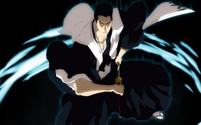 Картинка sword, game, Bleach, anime, japanese clothes, katana, man, captain, asian, manga, japanese, oriental, asiatic, shihakushou, …