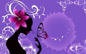 Картинка цветок, девушка, абстракция, стиль, коллаж, бабочка, силуэт