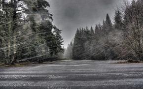 Обои дорога, снег, метель
