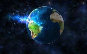 Обои графика, планета, земной шар, космос, Земля