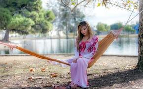 Картинка природа, поза, Девушка, платье, гамак, азиатка