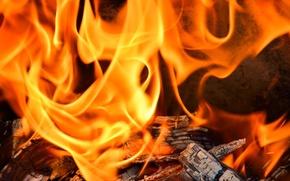 Картинка Огонь, пламя, жар, камин, дрова