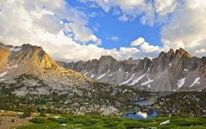 Картинка небо, трава, облака, снег, горы, озеро, долина, Парк, сша, гряда, Кингз-Каньон
