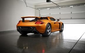 Картинка Porsche, Orange, Carrera, Supercar, Garage, Exotic, Borealis, Rear, Ligth, Nigth, Arancio