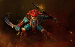 Обои stephors, оружие, Sacred Warrior, стойка, арт, воин, Huskar, тролль, Dota 2