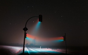 Картинка дорога, свет, ночь, туман, трасса, night, fog, светофоры, soft light, traffic lights, roaming, weimar