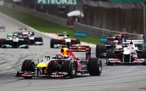 Картинка Фото, Гонка, Трасса, Formula-1, Red Bull, 2011, Марк Уэббер, RB7, Болиды, Трек, Автодром, Международный, Сепанг, …